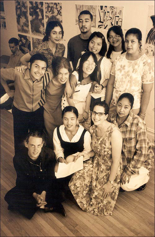 Co-founder Amy Berk (front row, second from the right) poses with the first MIP interns and Artist Instructors in 1996.