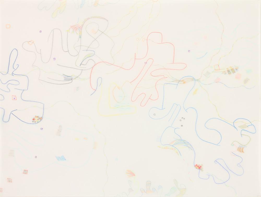 """Breath 4, 2015, 9"""" x 12"""", colored pencil on vellum."""