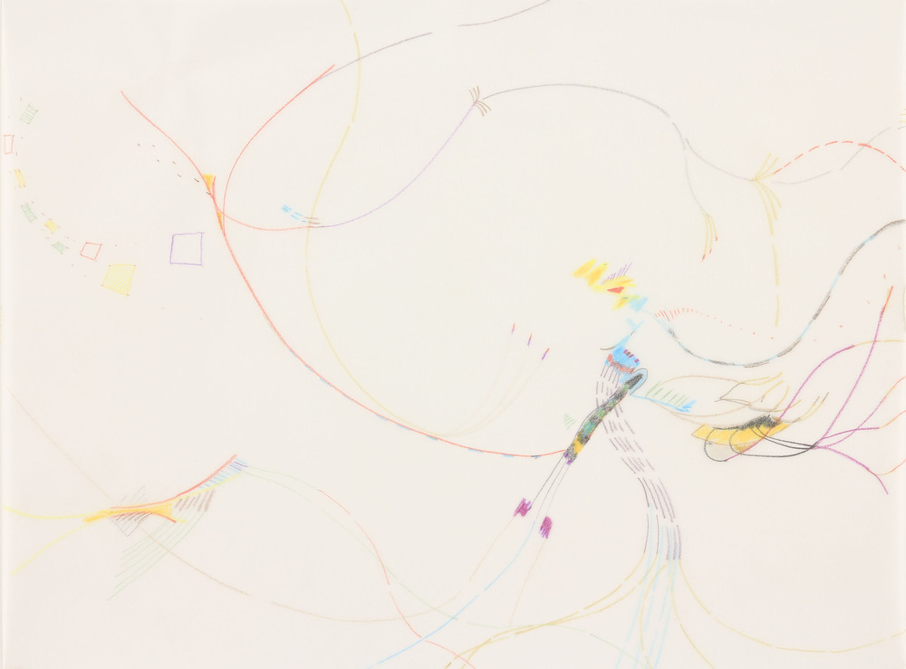"North 3, 2013, 9"" x 12"", colored pencil on vellum."