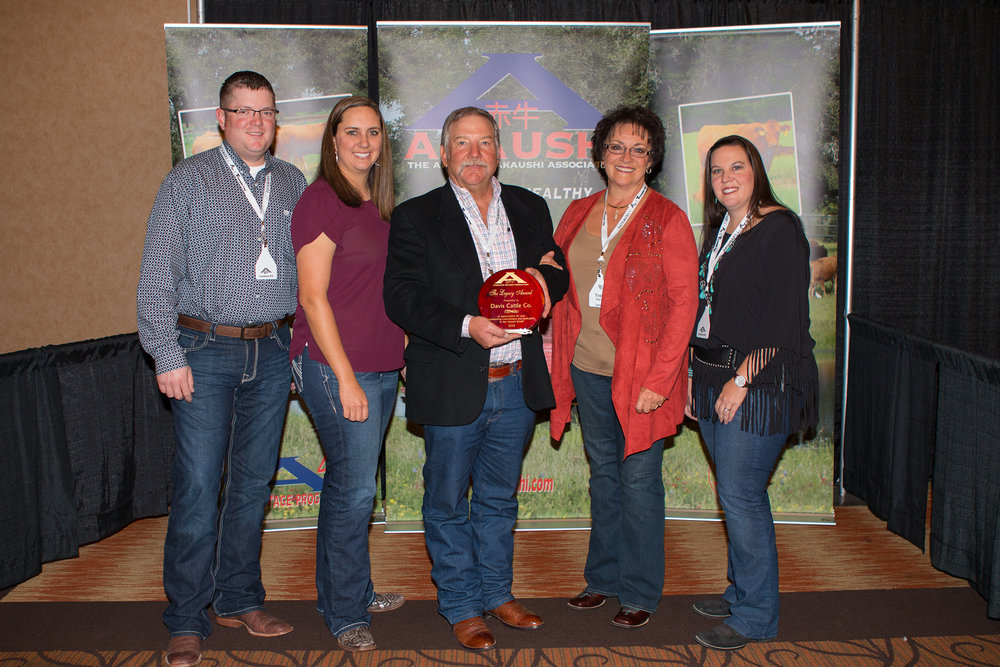 "Phil Davis and family of Davis Cattle Company - Bar O Ranch, Cascade, Idaho were presented The American Akaushi Association ""Securing The Legacy Award"" at their recent convention in Lubbock, Texas. This award is presented annually to the individual, family or ranch, that has provided key leadership and marketing efforts for the American Akaushi. L to R: Will Caldwell, Katlin Davis, Phil And Yvette Davis, Sarah Davis Swain"