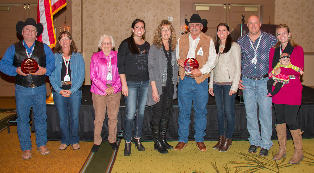 The 2014 american akaushi association Legacy award winners, Sterling Ranches, Sterling Cattle Company. L to R; Bret and Laura Sterling, Lucille Sterling, Lacy Sterling, Theresa and Jimmy Sterling, Tara Sterling Renfro,  Ryan and Karen Sterling Rechichar, Bay Rechichar