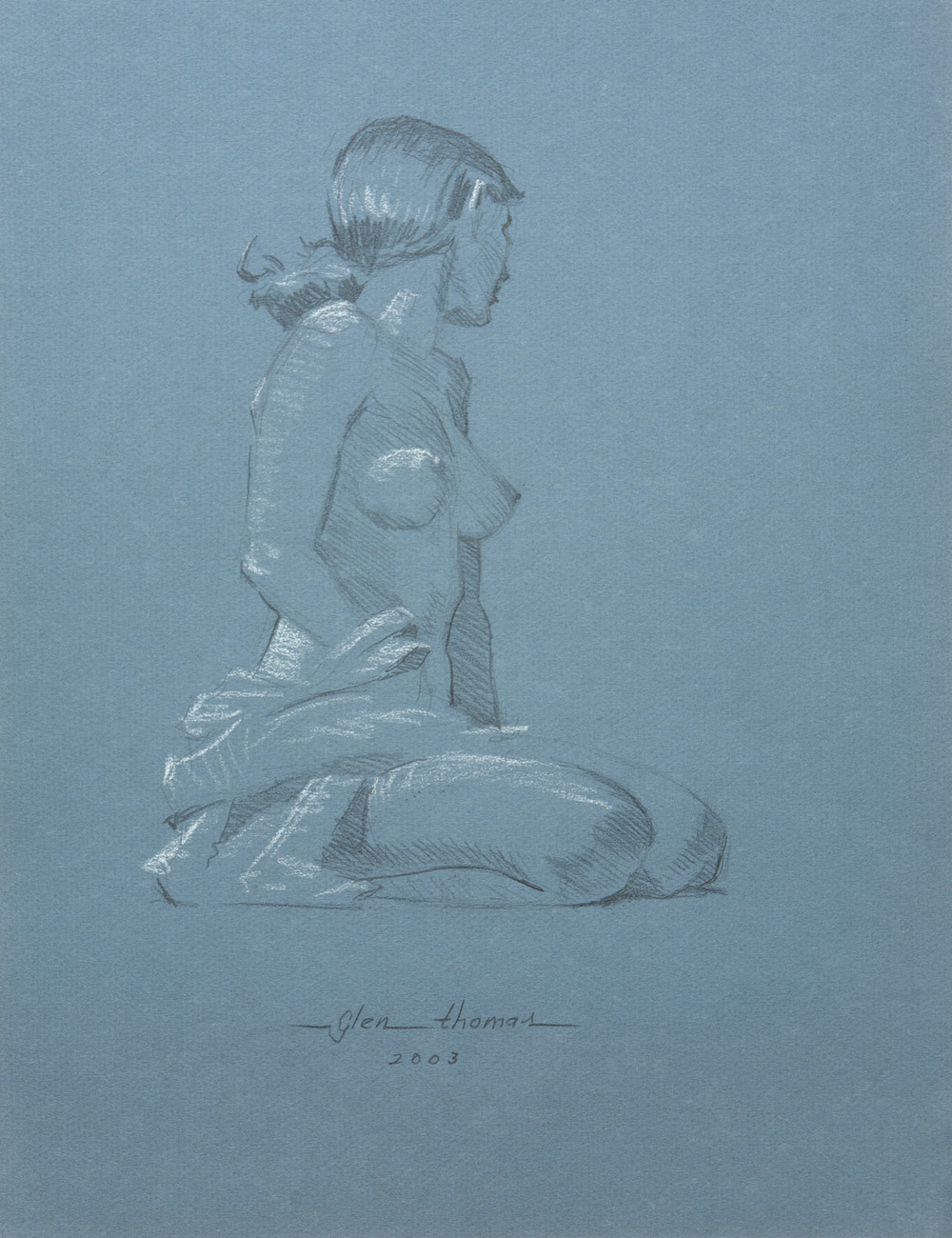 Seated Figure on blue