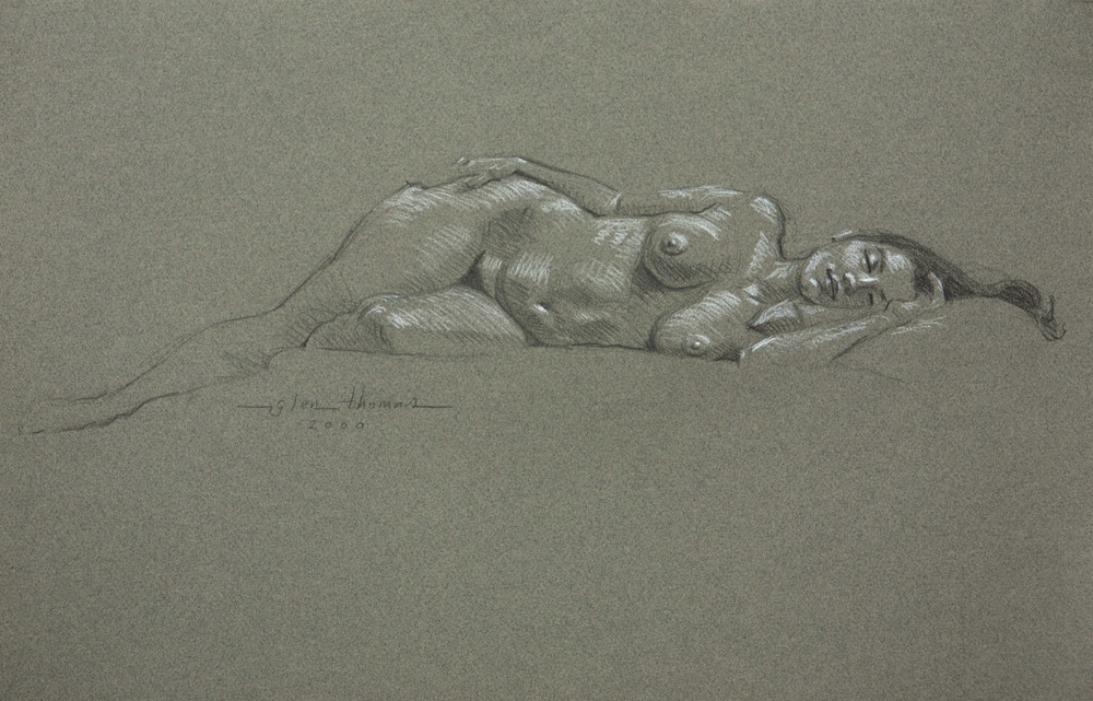 Reclining Figure, hair over the edge