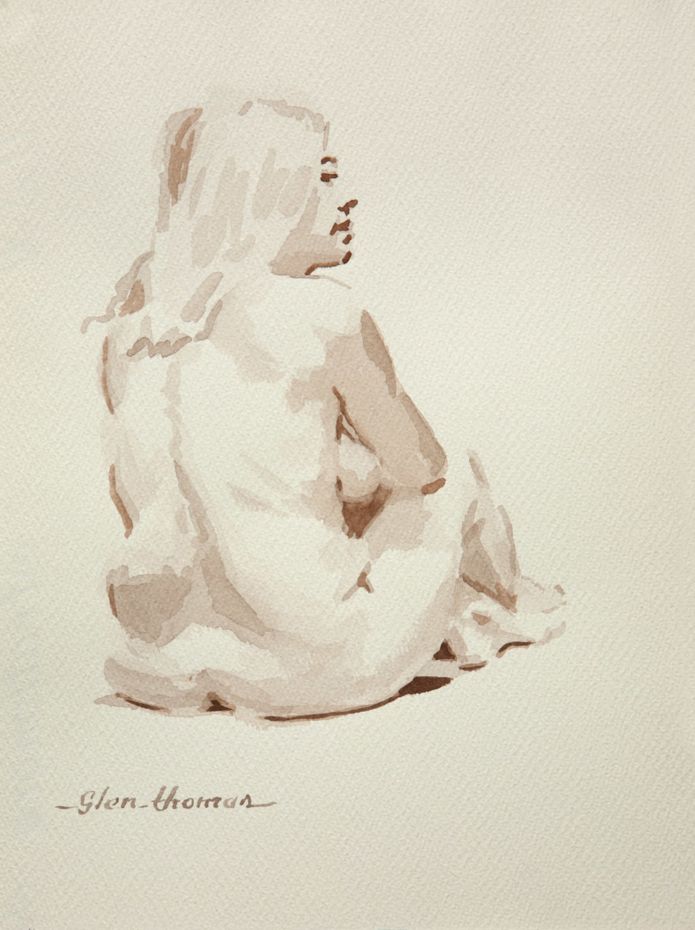 Seated Figure, back view facing right