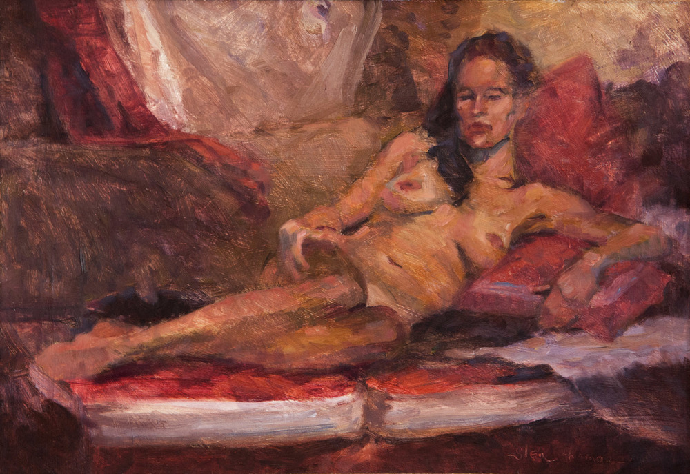 Amy On the Red Couch - SOLD