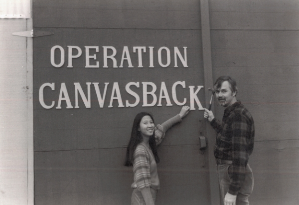L to R: Jacque Spence and Jamie Spence—founders and Executive Vice President and President, respectively—in the early days of Canvasback Missions.