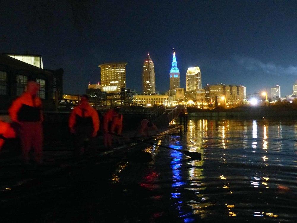 The river is still dark at 5:45 a.m.