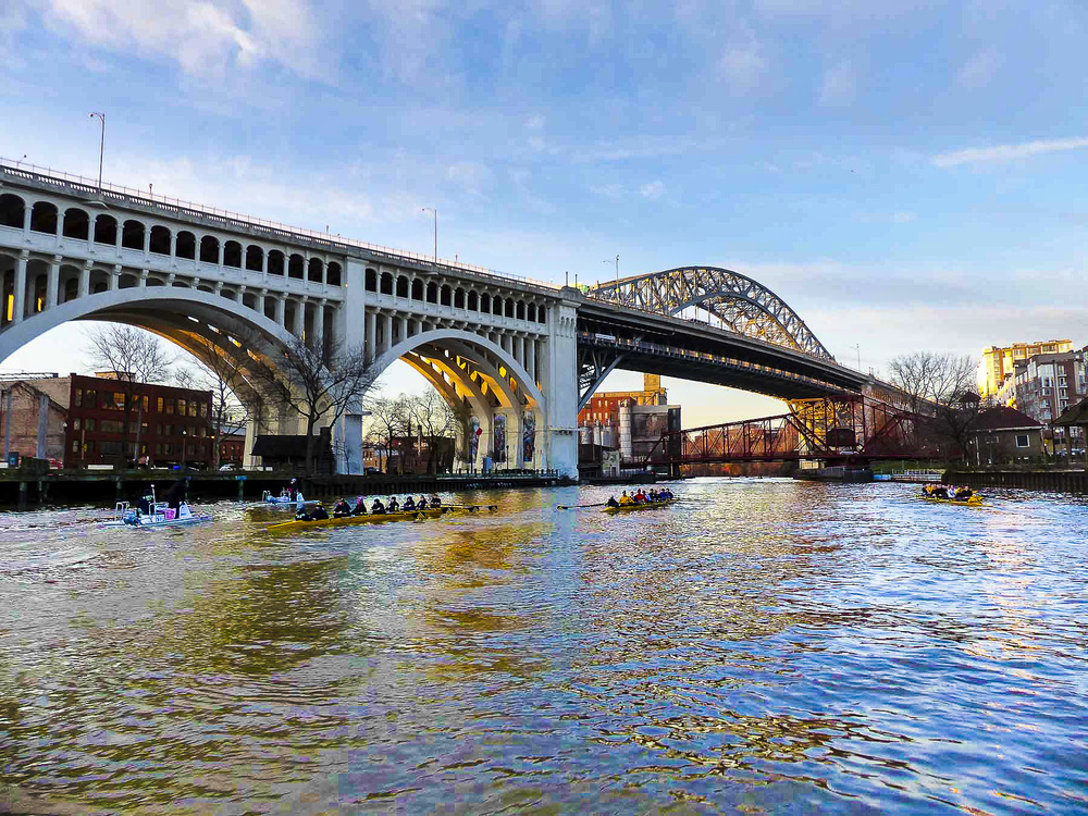 Its a dash to the Cleveland rowing foundation docks as...