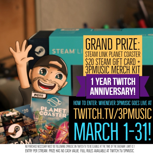 "VISIT TWITCH.TV/3PMUSIC EVERYDAY THAT I STREAM TO ENTER! YOU CAN WIN THIS AMAZING PRIZE PACKAGE WORTH OVER $100!   VOID WHERE PROHIBITED. MUST BE OF LEGAL AGE (CHANNEL REQUIREMENT IS 18+). MUST FOLLOW TWITCH COD OF CONDUCT AND GUIDELINES. NO BOTS, DUPLICATE OR ""GHOST"" ACCOUNTS WILL BE PERMITTED. ALL ENTRIES MUST BE FOR REAL, ACTIVE VIEWERS. YOU MUST FOLLOW 3PMUSIC CHANNEL ON TWITCH.TV IN ORDER TO BE ELIGIBLE. YOU MUST BE FOLLOWING THE CHANNEL AT THE TIME THE PRIZE WINNER IS ANNOUNCED.  ALL WINNERS WILL BE NOTIFIED VIA TWITCH WHISPER FROM 3PMUSIC DIRECTLY ON OR AROUND THE FIRST WEEK OF APRIL."