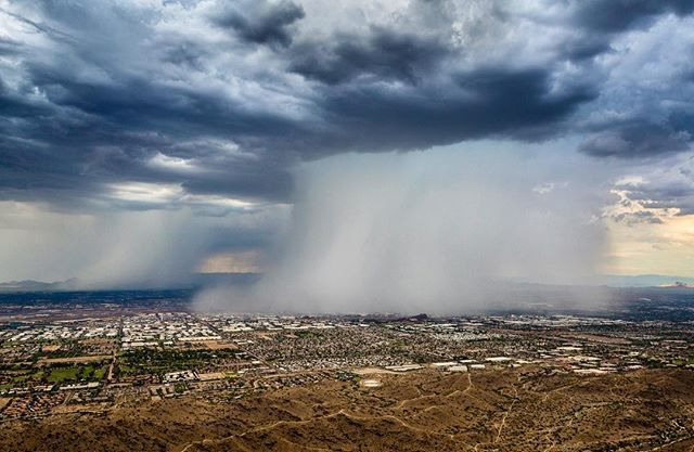 Truly epic weather yesterday. I've never seen so many microbursts at once. Flying in it was intense to say the least. I'm very glad we were able to land at the closest airport, and get inside. The airport got hit just 7 minutes after we landed. #azweather #azwx #arizonaphotographer #tv3 #cbs5az #chopperguy #monsoons #monsoonseason2017 #microburst #phoenix #arizonacollective #igaz #igsouthwest #weatherphotos #aerialphotography #stormchasing #r44 #phoenixweather #tempe #aerialimages