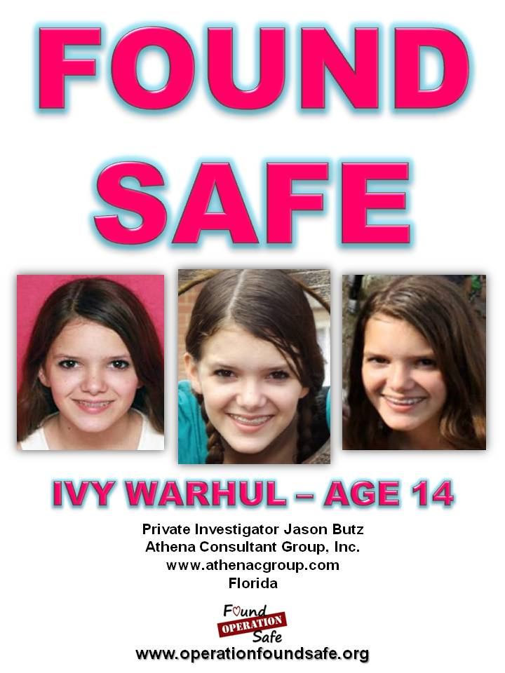 Ivy Warhul - age 14 - FOUND SAFE - missing since 05-27-14 from North Port, FL - PI Jason Butz.jpg