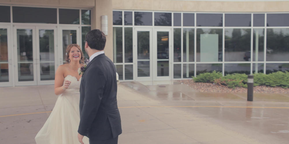 bride and groom-first look
