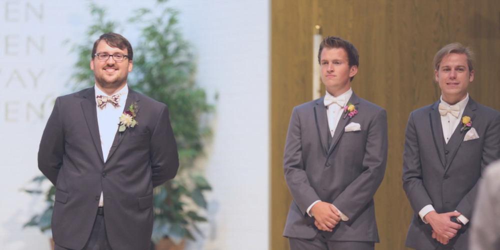 first look-groom-church