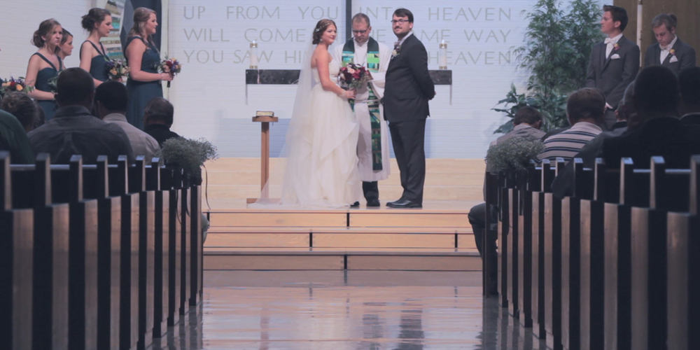 bride and groom-church