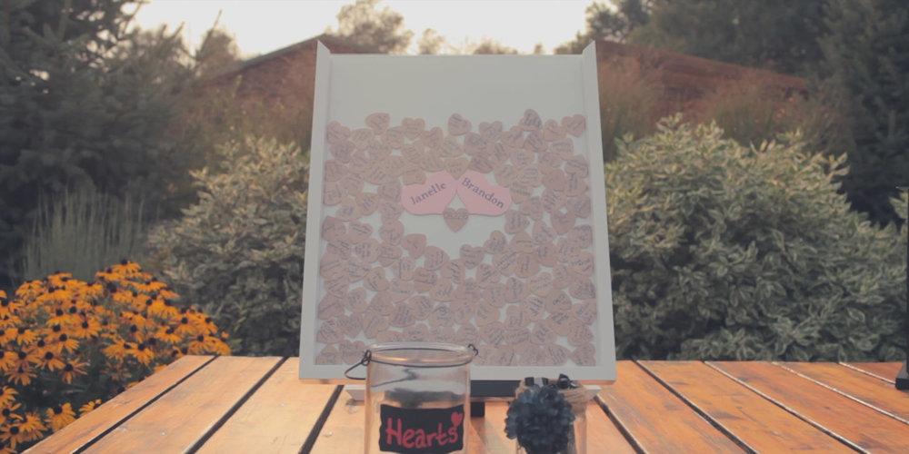 guest book idea wooden hearts wedding frame