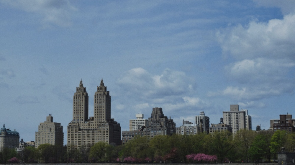 across the Jacqueline Kennedy-Onassis reservoir into the Upper West Side.