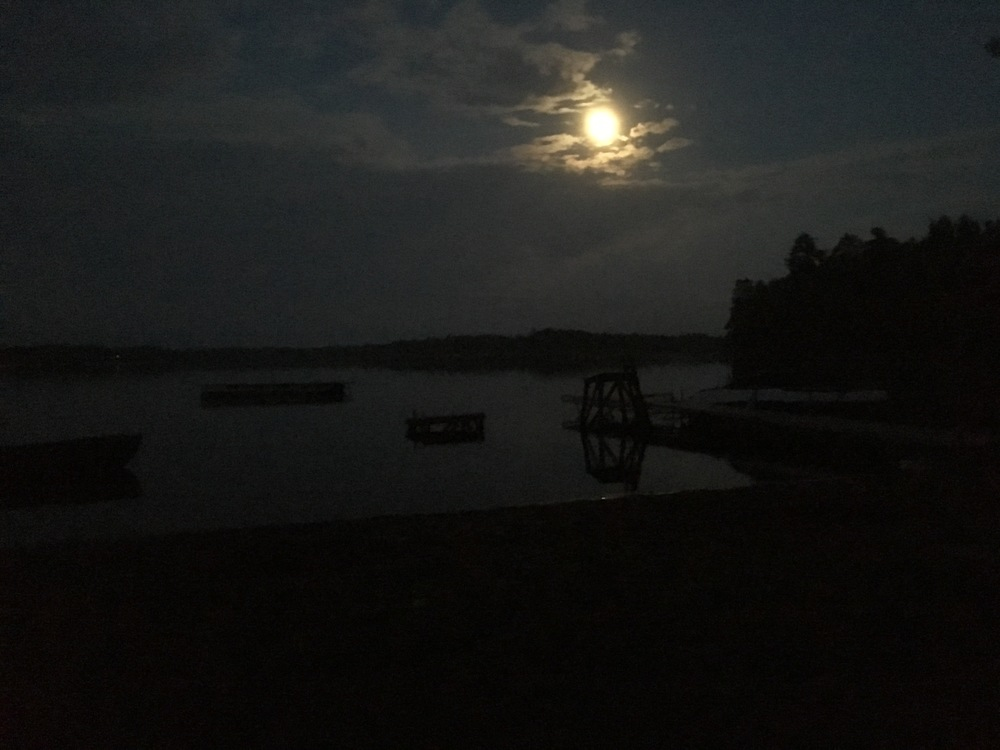Night at the beach with the full moon