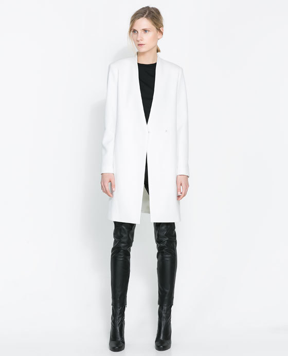 Zara White Double Breasted Coat