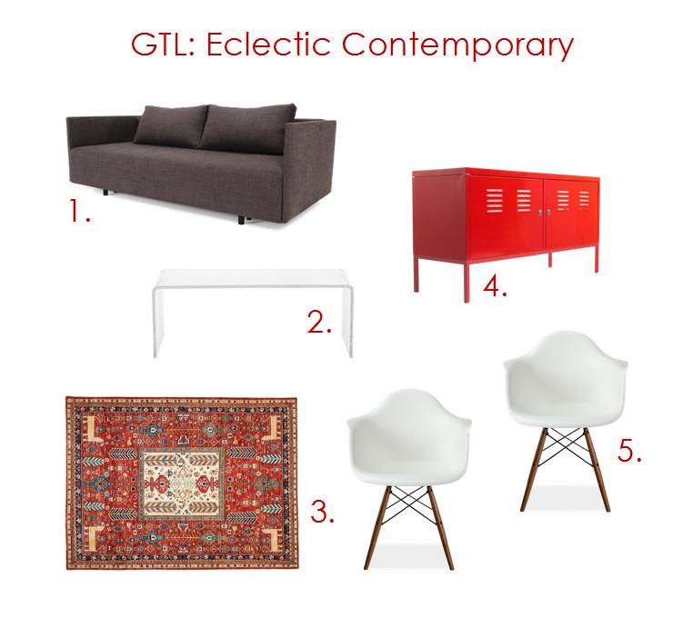 1. Pyx Sleek Sofa // 2. Peekaboo Clear Coffee Table // 3. Adina Collection Oriental Rug // 4. IKEA PS Red Cabinet // 5. Eames Armchair