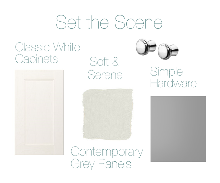 CABINETS, PANELS, HARDWARE - IKEA  // PAINT-  DONALD KAUFMAN  DKC-8   (IMAGE HOUSE BEAUTIFUL)