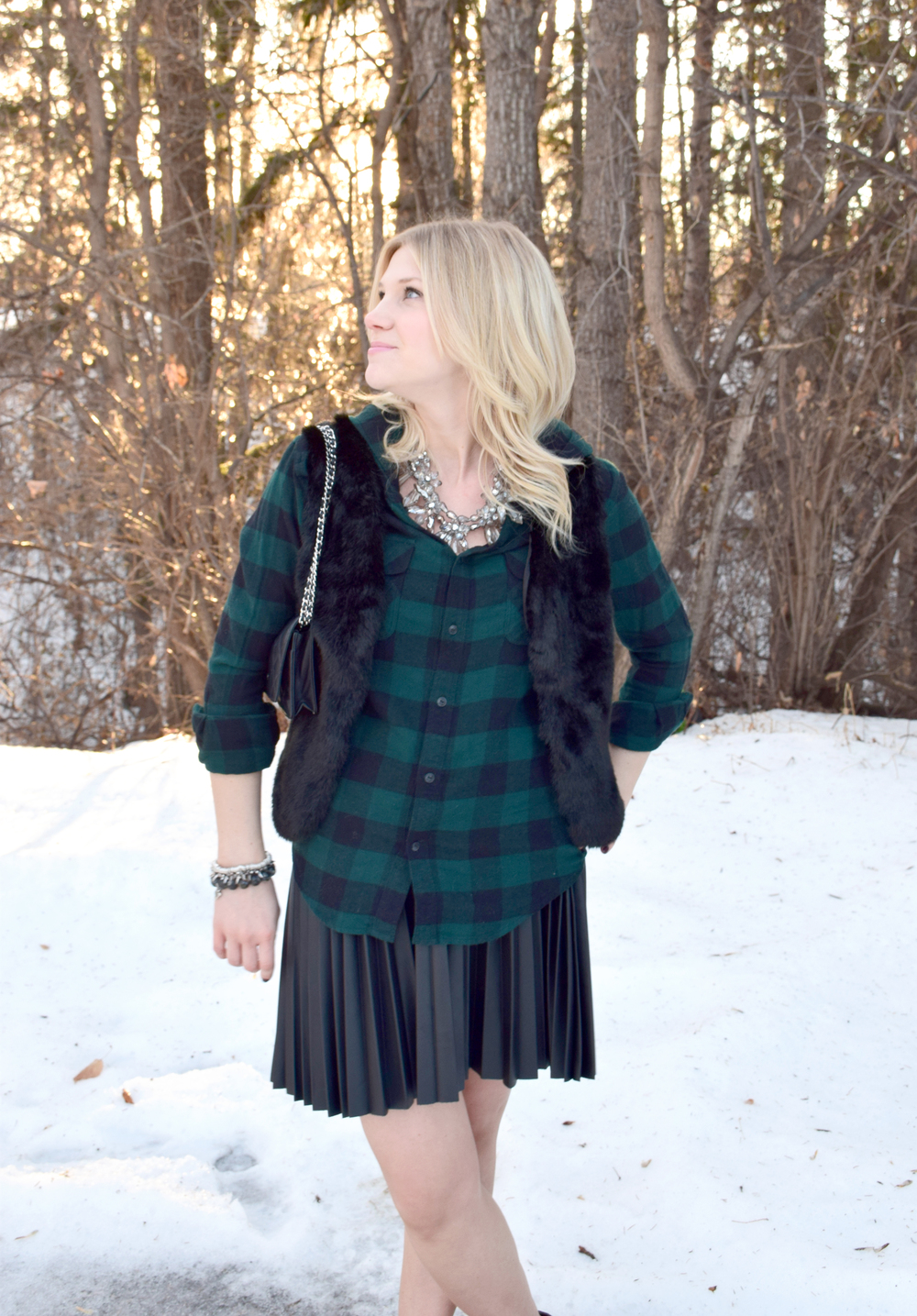 Plaid and Faux Fur - via 204 Park