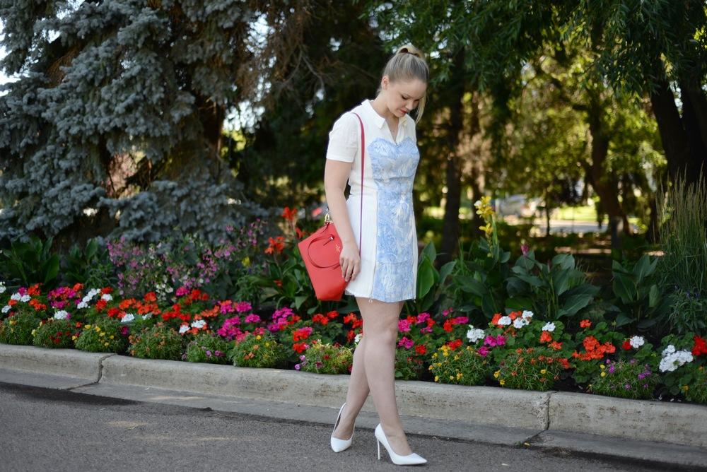 dressometry white and blue pattern dress fashion