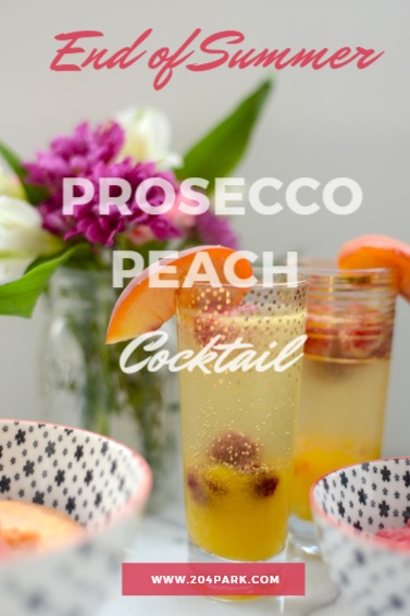 peach and prosecco cocktail