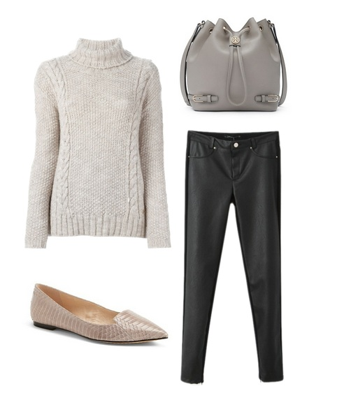 fall turtleneck with leather pants