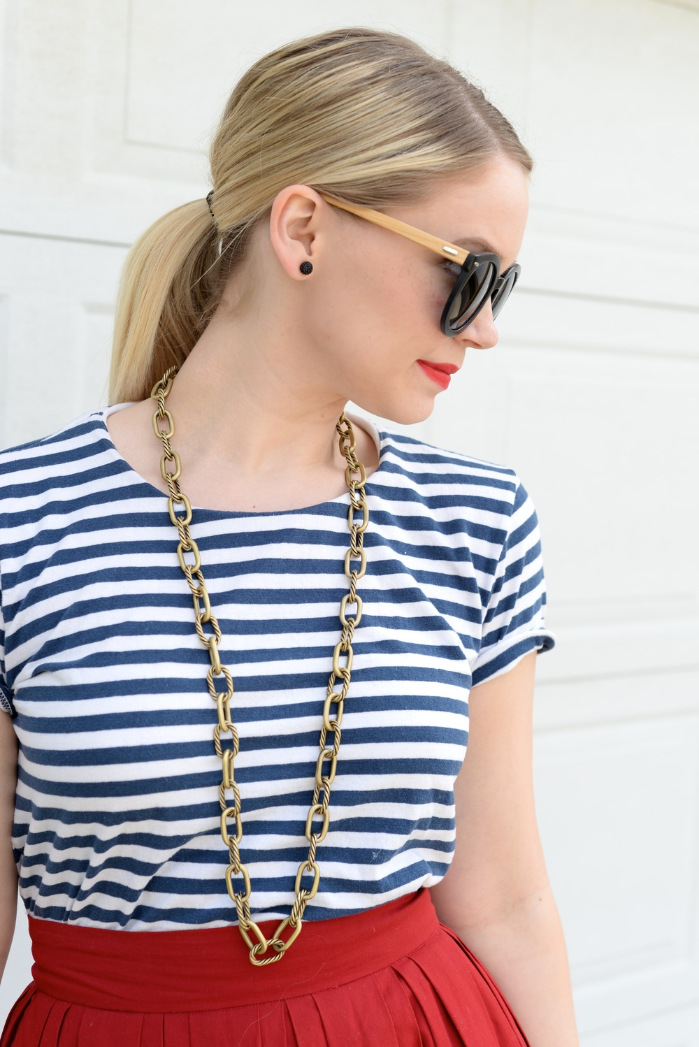 Striped Top, Red Lip