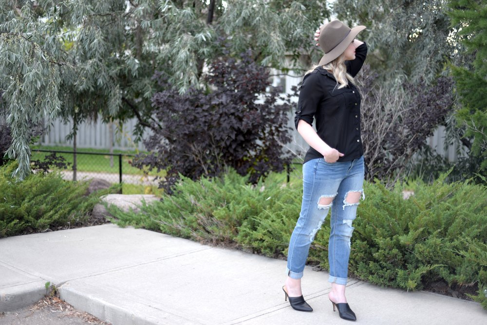black mules ripped denim