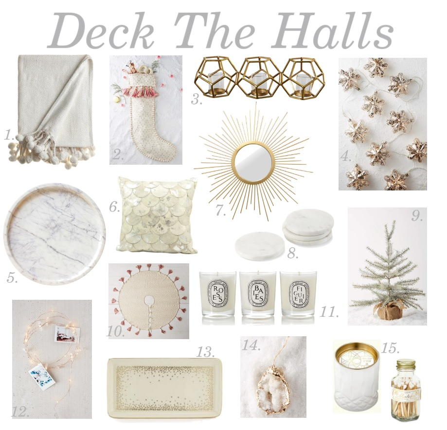 holiday decorations white and gold