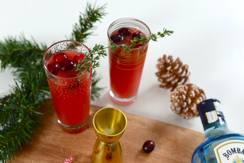 cranberry gin holiday cocktail