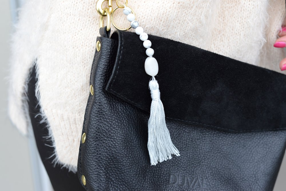 fringe and feather bag charm