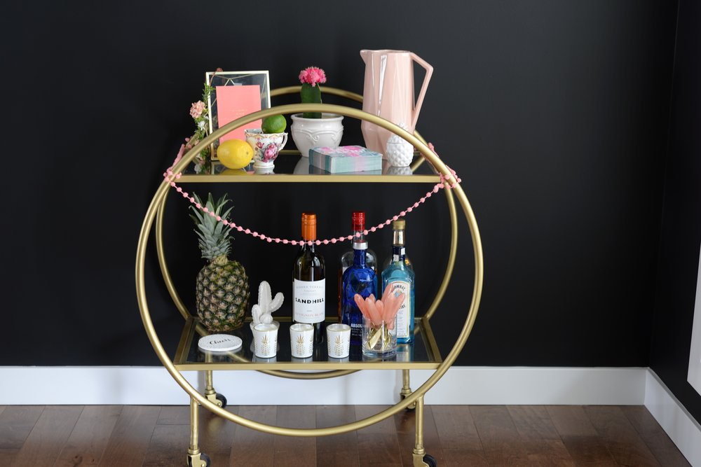 tropical bar cart styling