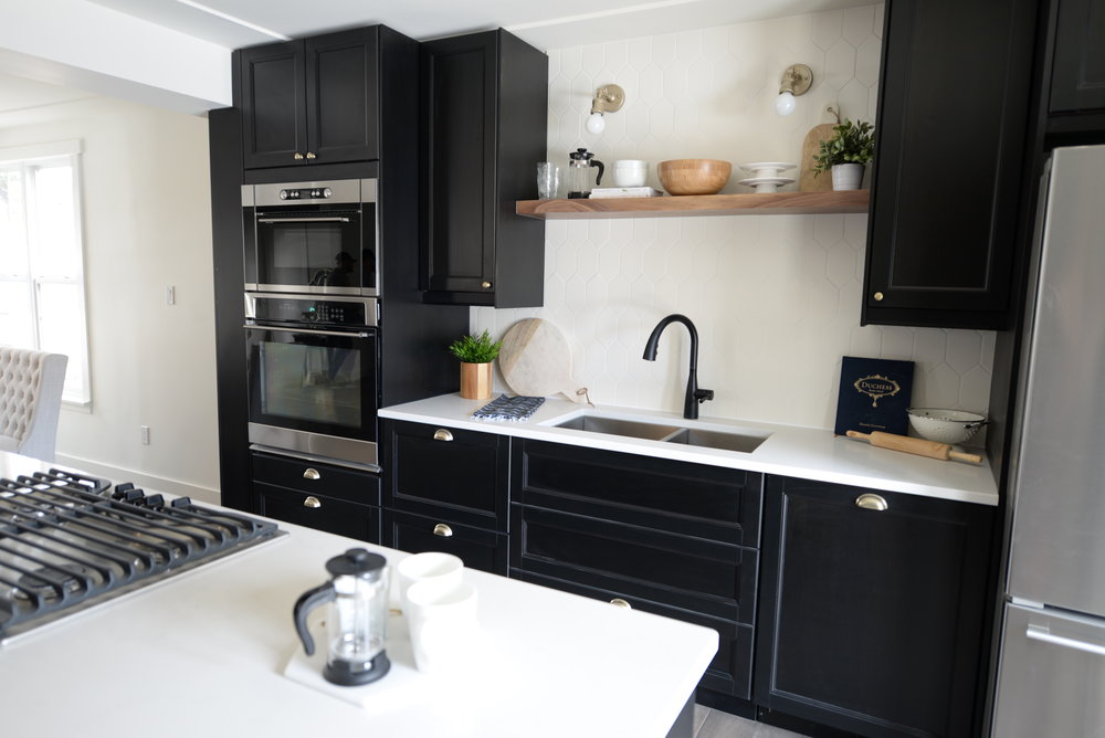 black and walnut kitchen