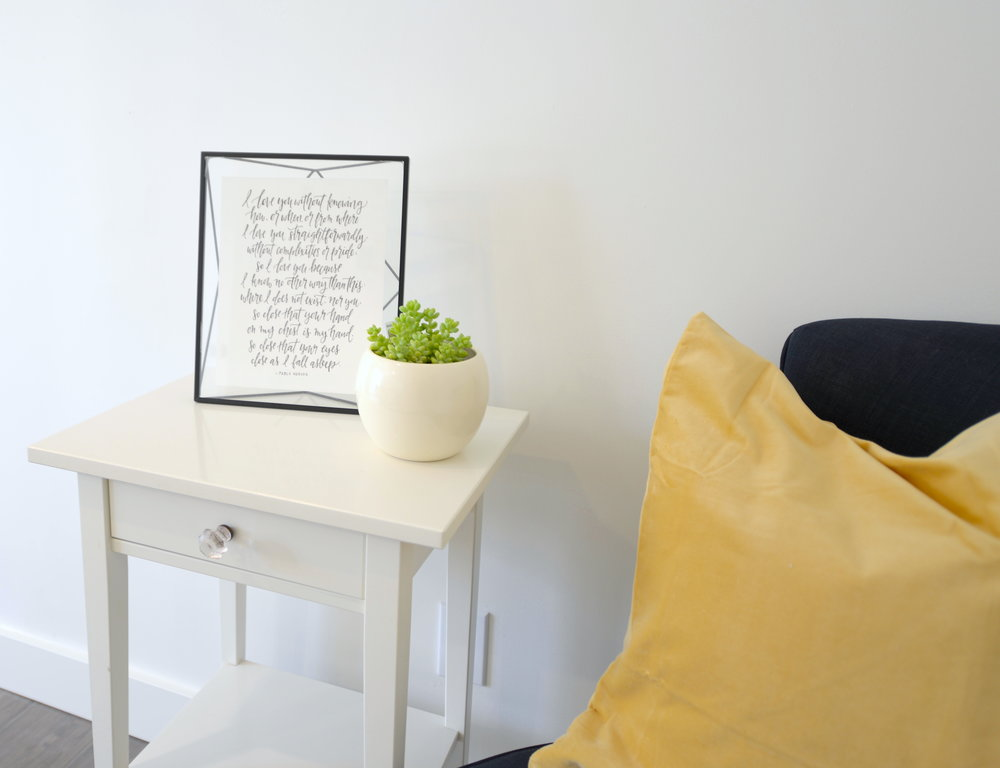 bedroom with pop of yellow