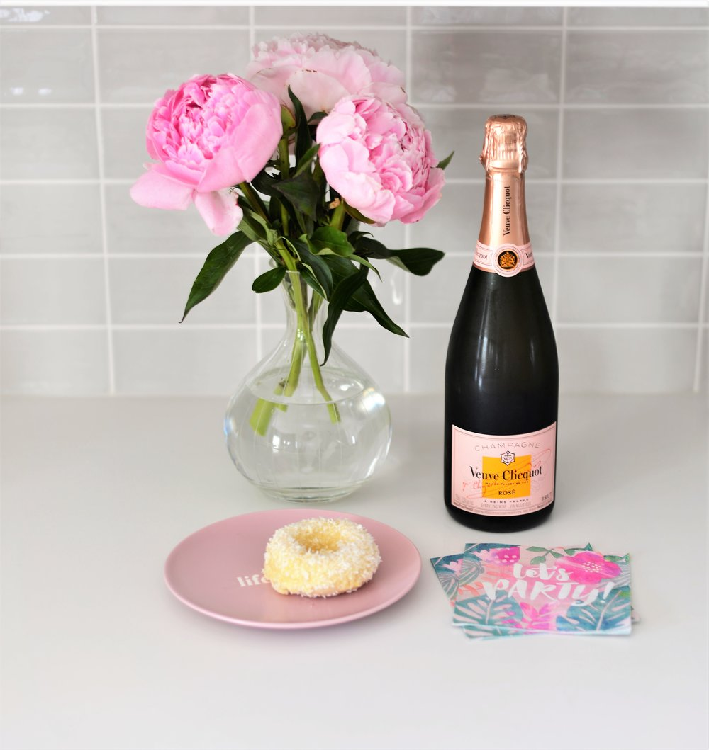 peonies and veuve