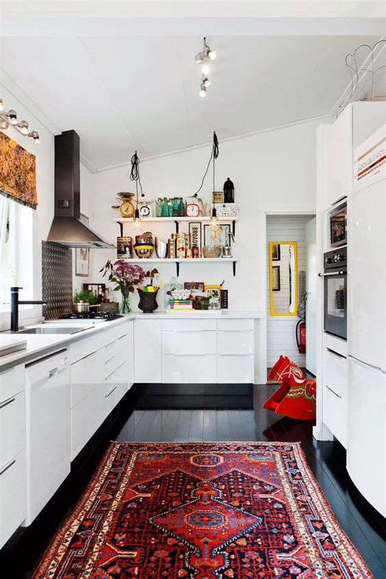 eclectic kitchen red and white
