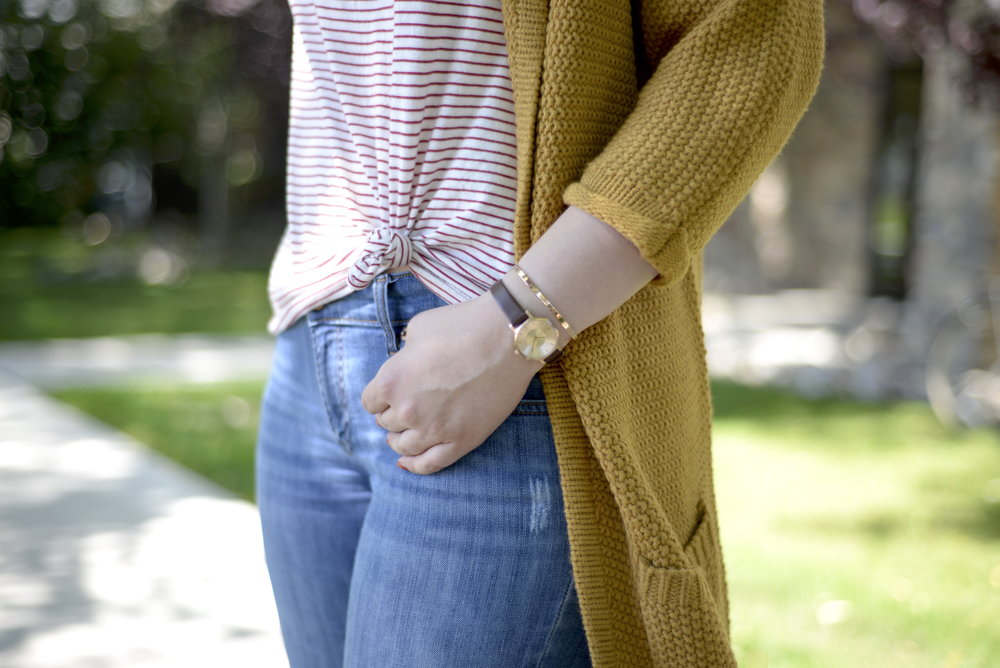 mustard color cardigan