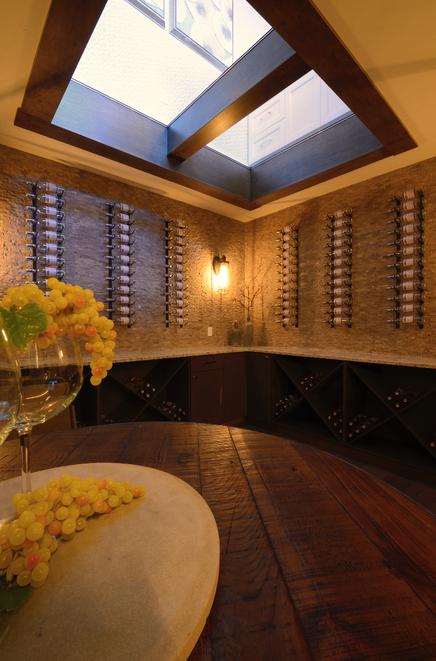 wine cellar with glass ceiling