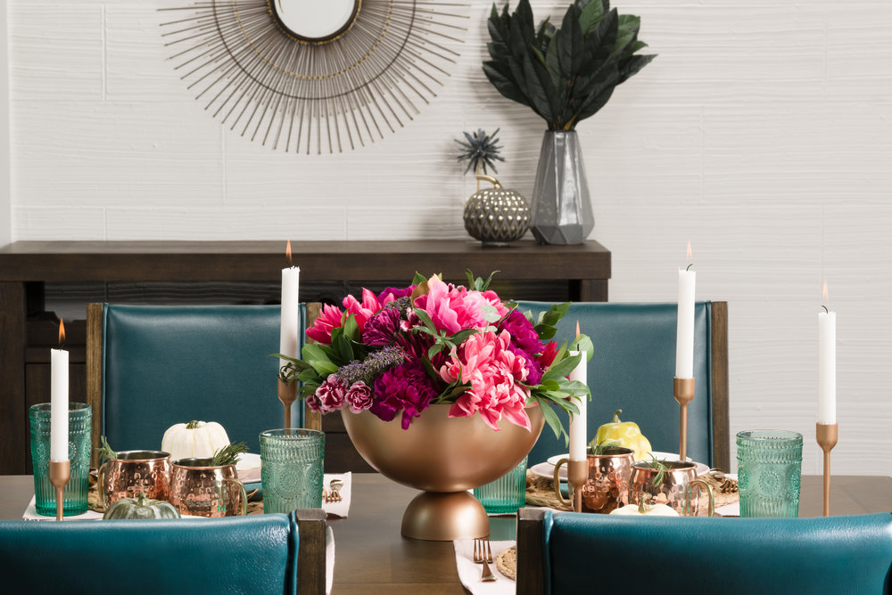 copper and turquoise table setting