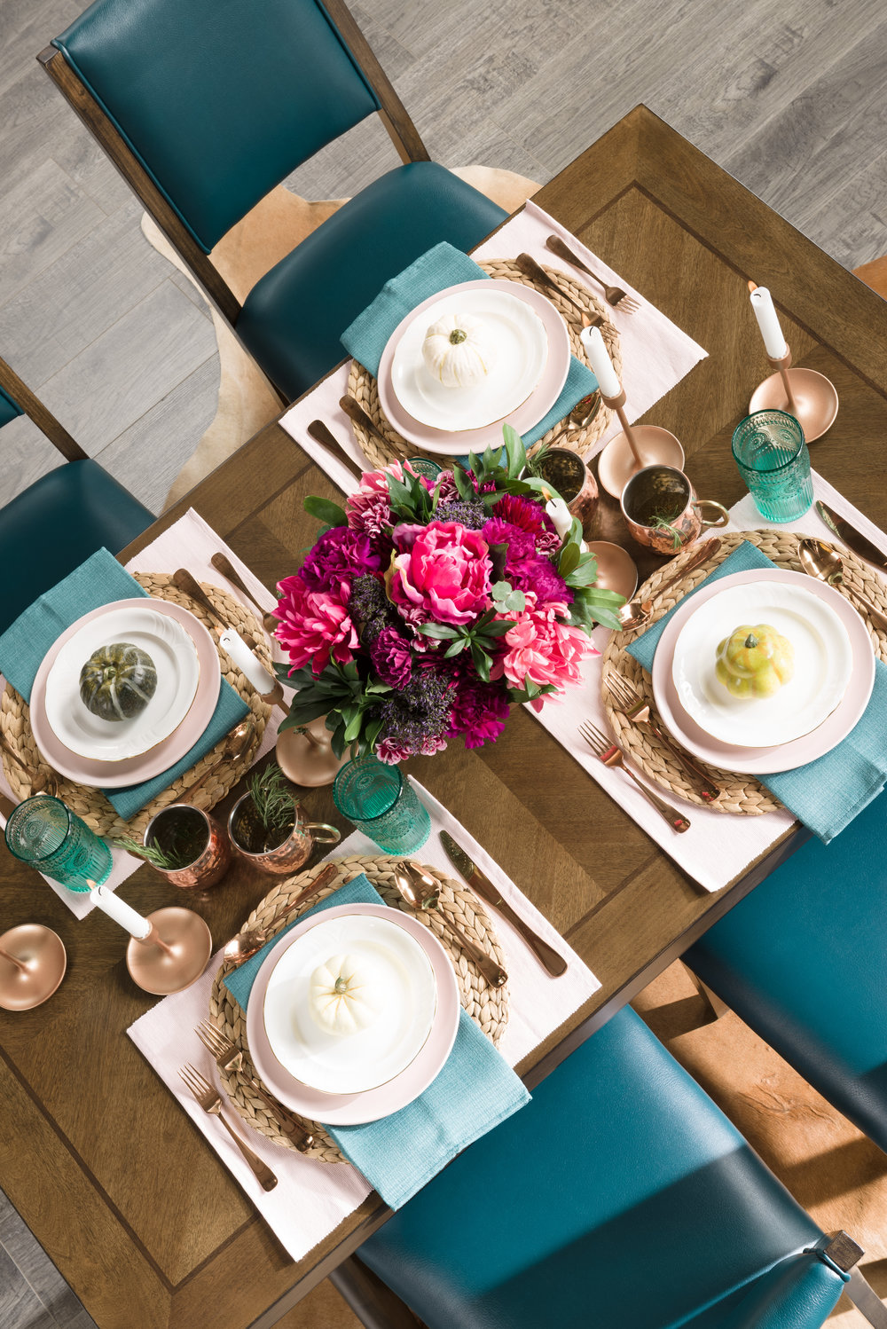 fall tablescape, copper and turquoise