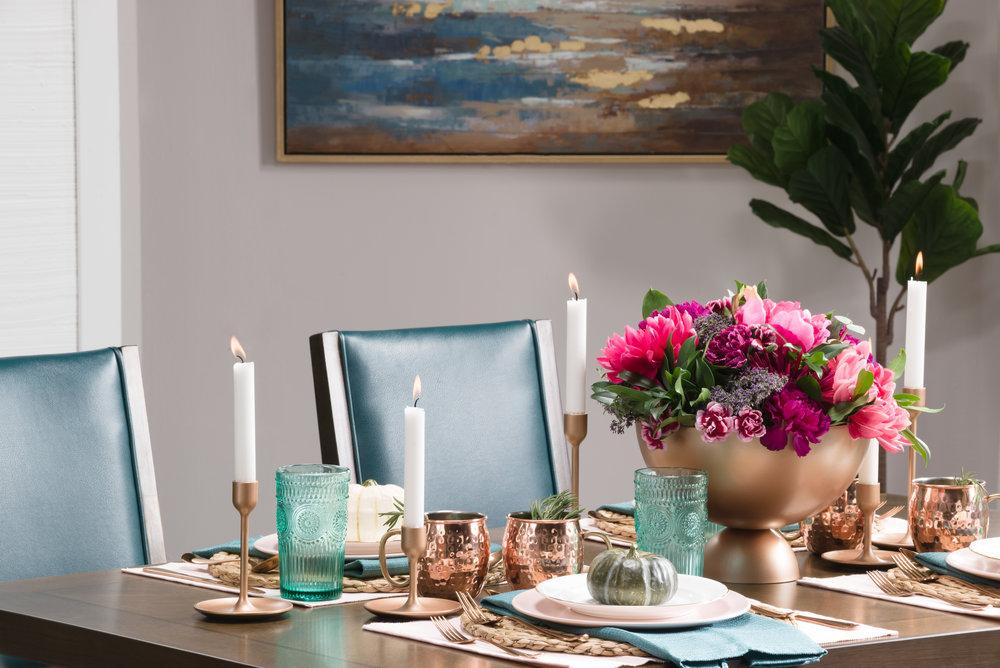 copper floral centerpiece DIY