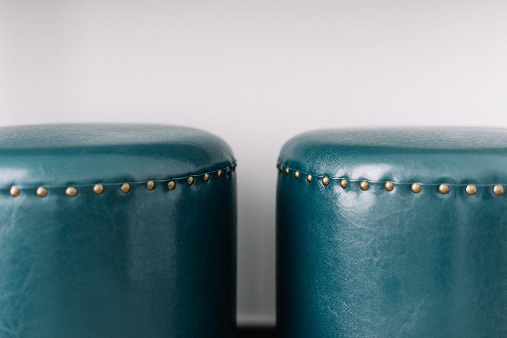 teal ottomans