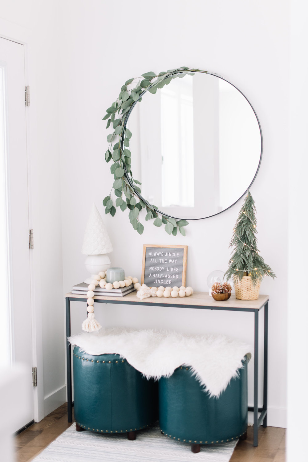 eucalyptus around mirror holiday decor