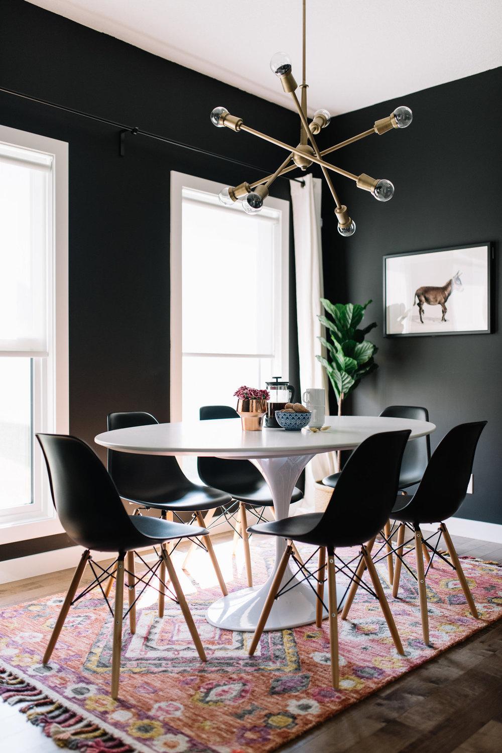 black modern dining room
