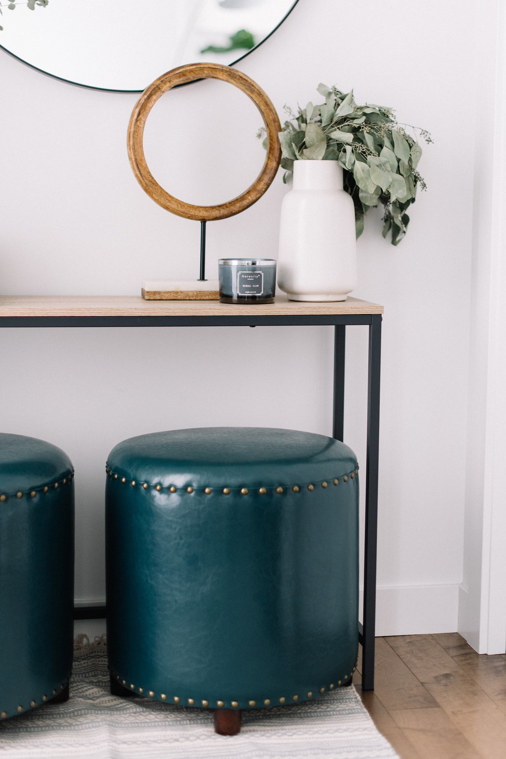 interior design styling with teal