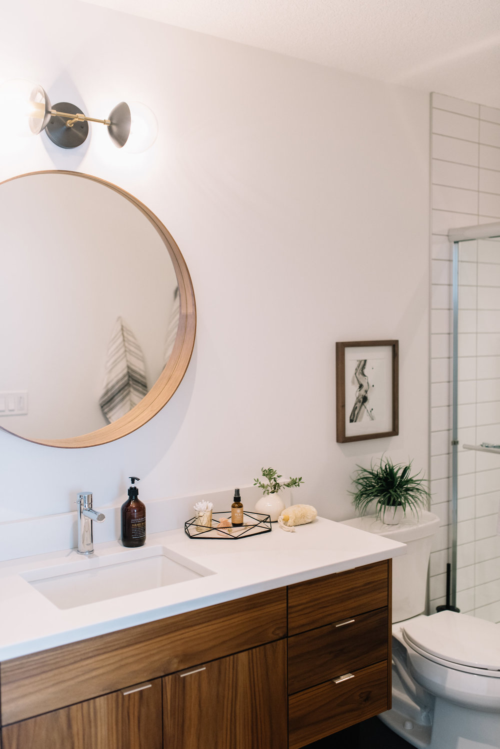 modern bathroom walnut vanity
