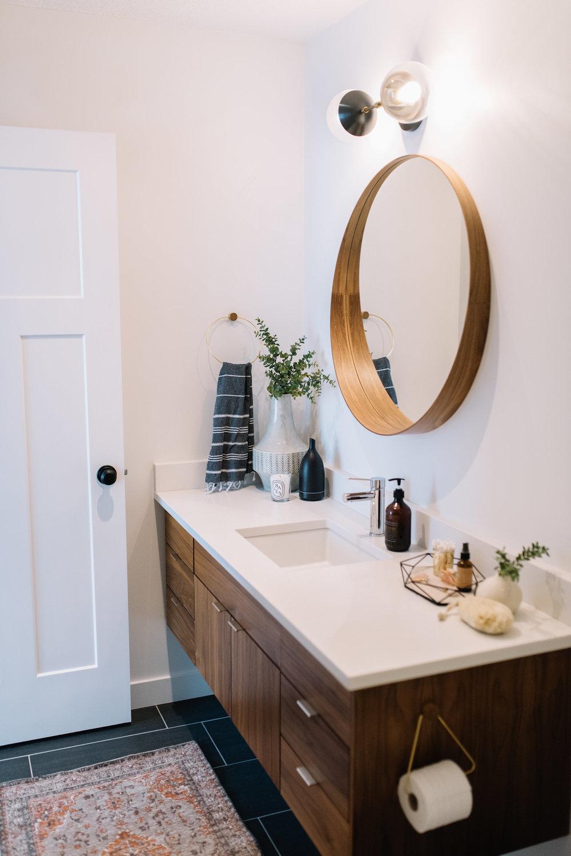 modern bathroom, walnut vanity