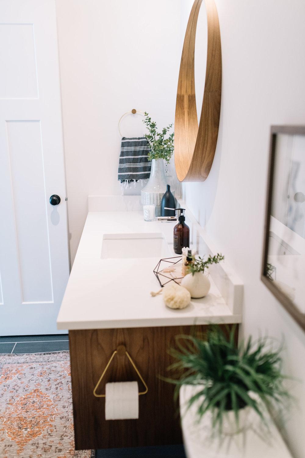 modern bathroom, walnut mirror